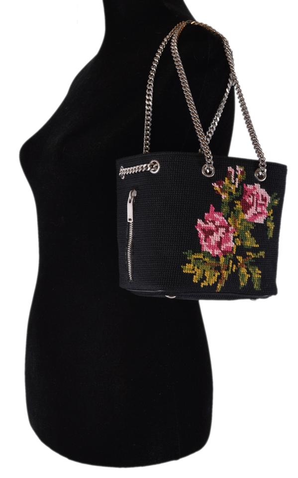 09e06b7555d0 Saint Laurent Emmanuelle New Ysl Needlepoint Roses Black Cotton and Wool  Cross Body Bag - Tradesy