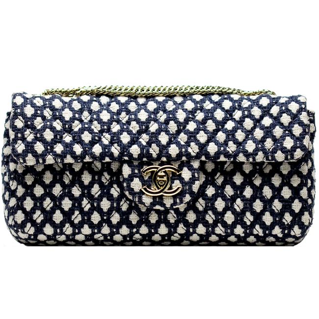 Chanel Classic Flap Resort Blue and White Cotton Blend Shoulder Bag Chanel Classic Flap Resort Blue and White Cotton Blend Shoulder Bag Image 1
