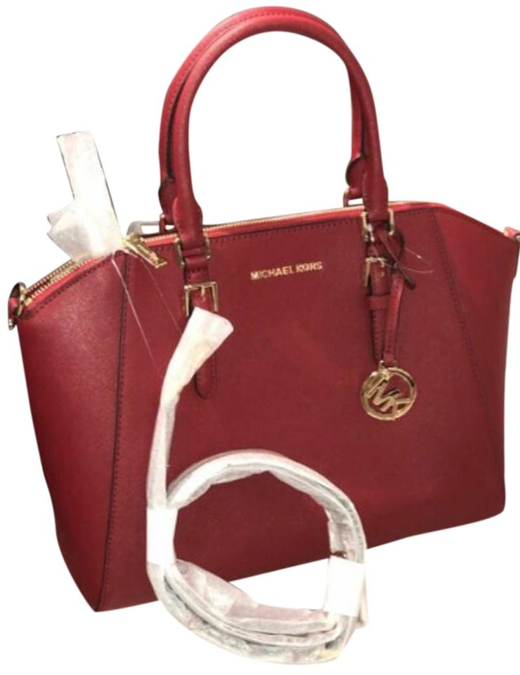 e3c5ec027439 Michael Kors Ciara Large Top Red Saffiano Leather Satchel - Tradesy