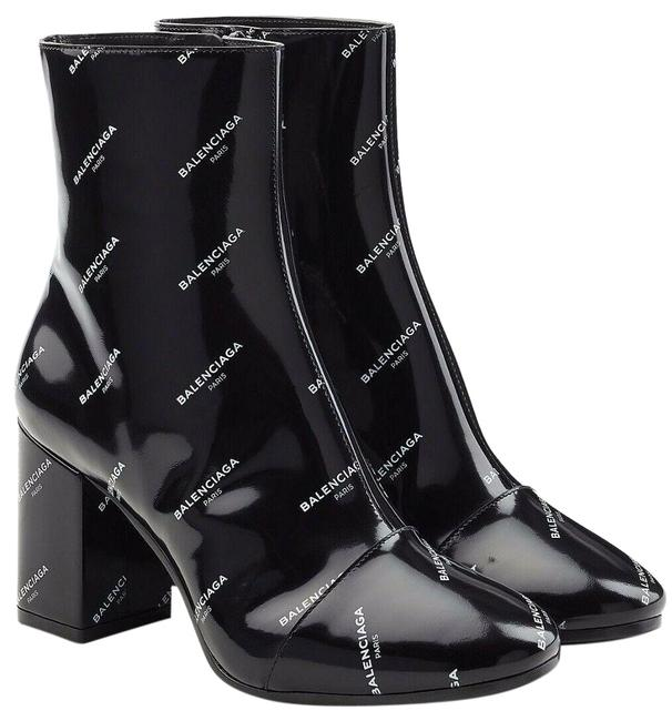 Item - Black White New Printed Logo Ankle Leather Boots/Booties Size EU 39 (Approx. US 9) Regular (M, B)