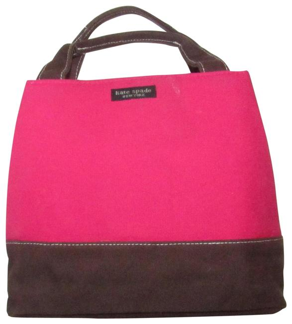 Item - New York Color Block Hot Pink and Brown Canvas Satchel