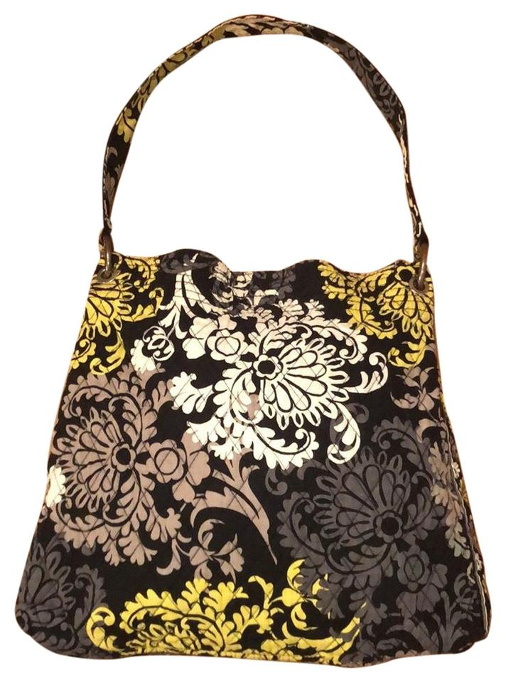 Vera Bradley Magnetic Closure Machine Washable Gray Black Yellow and ... a05d567acd