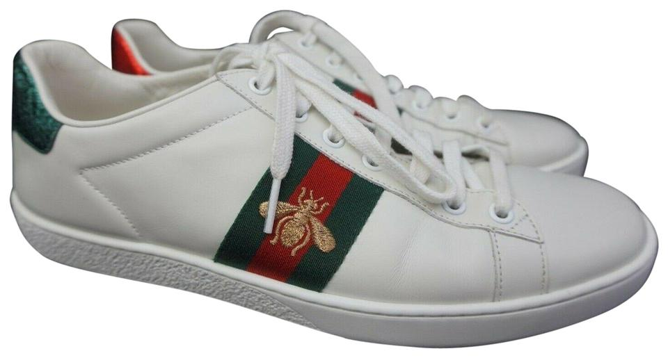 984b37a2c Gucci White Women's Ace Leather Bee Low Top Sneakers Size EU 39.5 ...