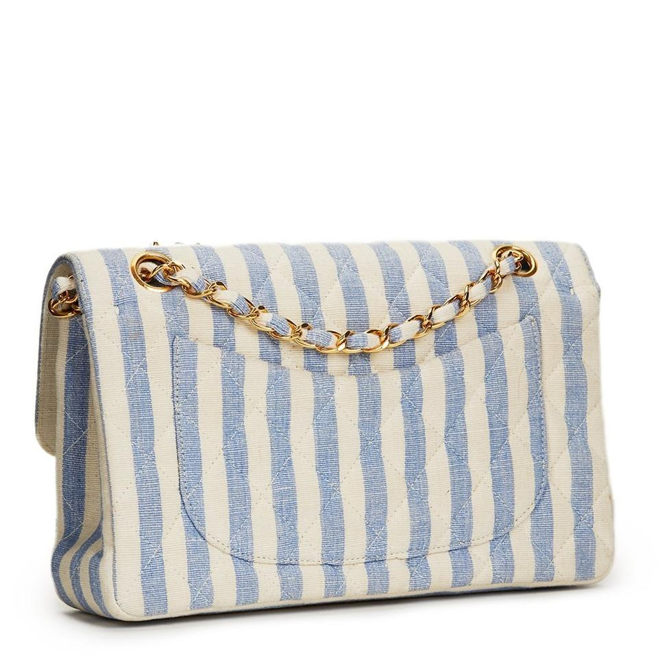 b5143acaa8cf Chanel Classic Flap Vintage 90s Striped Rare Blue and White Linen ...