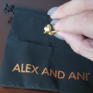Alex and Ani Alex and Ani gold tone adjustable double heart ring. Perfect gift for valentine's day!