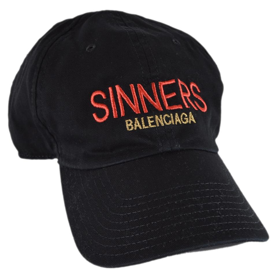 393cc9b0fa857 Balenciaga NEW Balenciaga Men s Black SINNERS Baseball Hat Large 59 CM  Image 0 ...