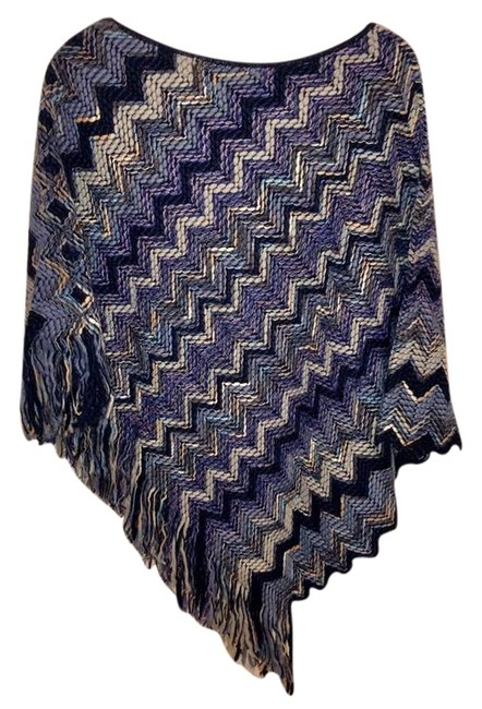 Item - Blue Violet and Cream Zigzag Poncho/Cape Size OS (one size)