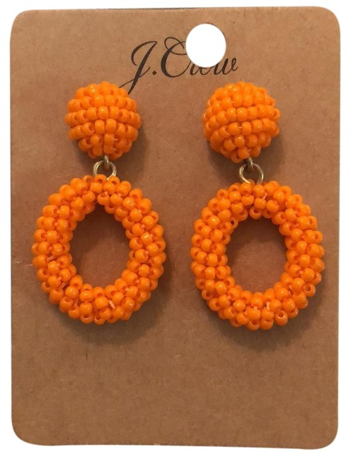 Item - Orange Mini Beaded Hoops Drops Earrings