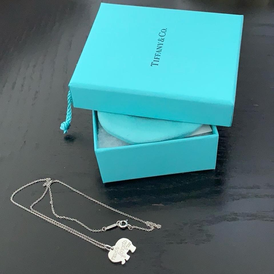 """3cbfc16d7477a Tiffany & Co. Silver Co """"elephant Never Forgets"""" Necklace 8% off retail"""