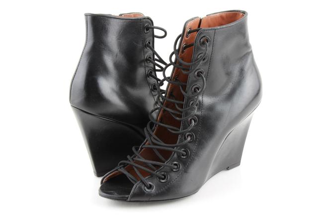 Item - Black Leather Lace Up Open Boots/Booties Size US 6 Regular (M, B)