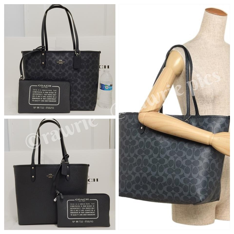 Coach City Reversible Signature Large Tote with Travel Pouch Denim ... 9a86c1894c826