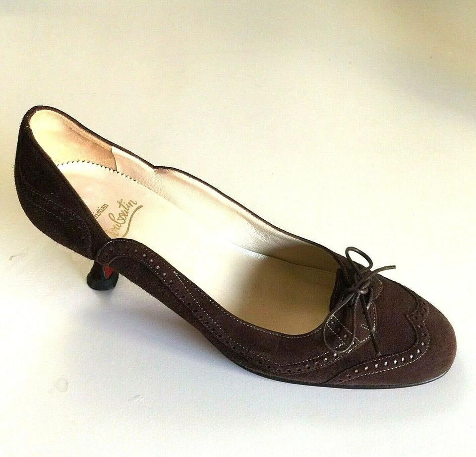 081bf463fc3ab Christian Louboutin Brown Vintage Kitten Heel Suede 39 Wingtip Lace Up Tie  Wingtip Pumps Size US 9 Regular (M, B)
