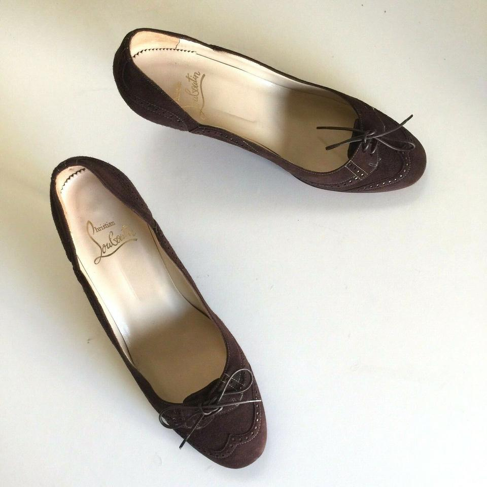f1896178a6 Christian Louboutin Brown Vintage Kitten Heel Suede 39 Wingtip Lace Up Tie  Wingtip Pumps Size US 9 Regular (M, B) - Tradesy