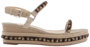 Christian Louboutin Cataclou Studded Platform Ankle Strap beige Wedges