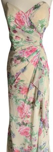 cream floral pattern Maxi Dress by Mori Lee