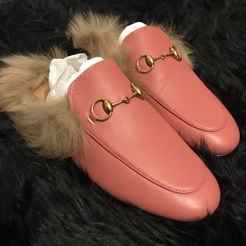 8924a6fa30a Gucci Pink and Gold Princetown Leather Fur Slipper Flats Size EU 37  (Approx. US 7) Regular (M