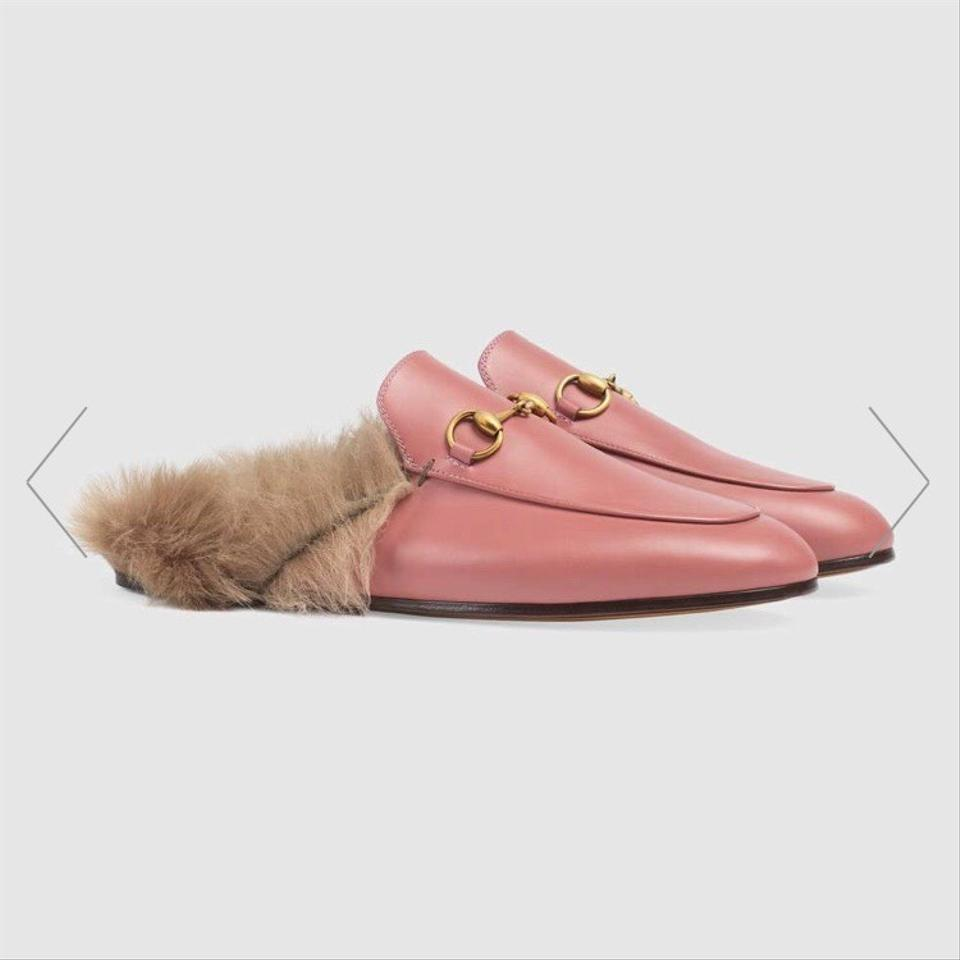 be30dcd2f2a Gucci Pink and Gold Princetown Leather Fur Slipper Flats Size EU 37 ...