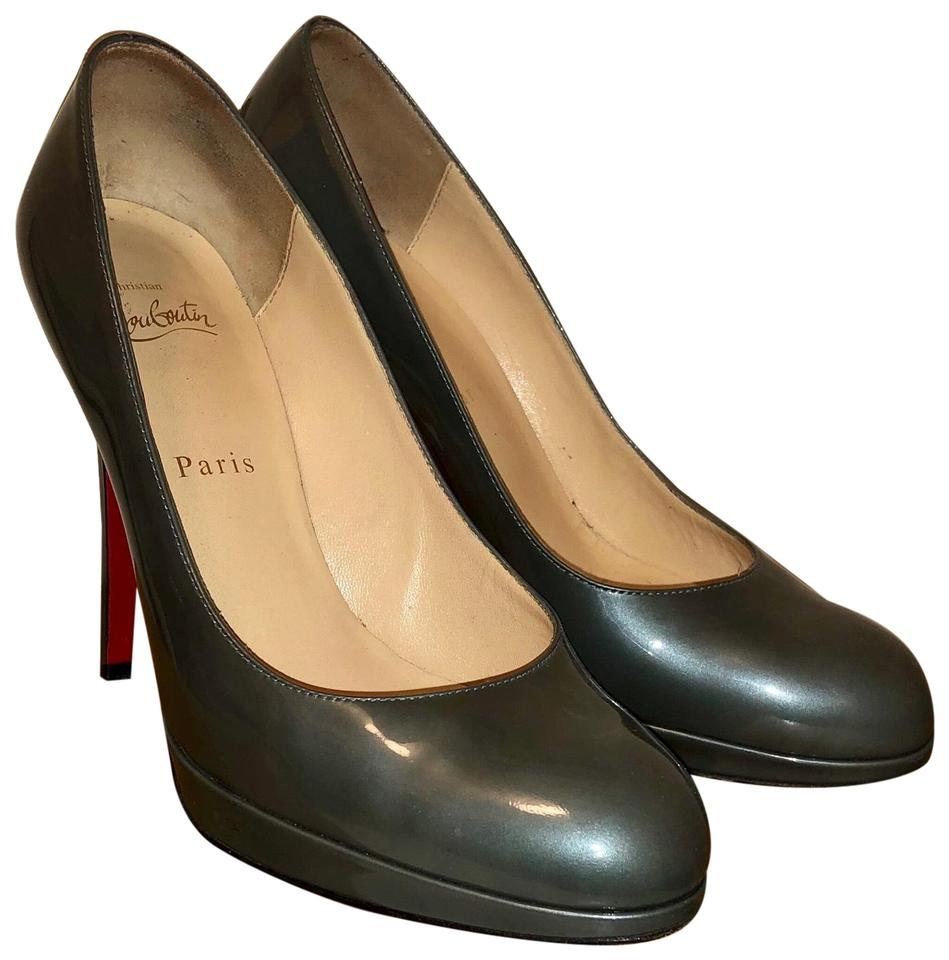 4946c4a0ed2c Christian Louboutin Metal Patent Blue Grey New Simple 120mm Pumps ...