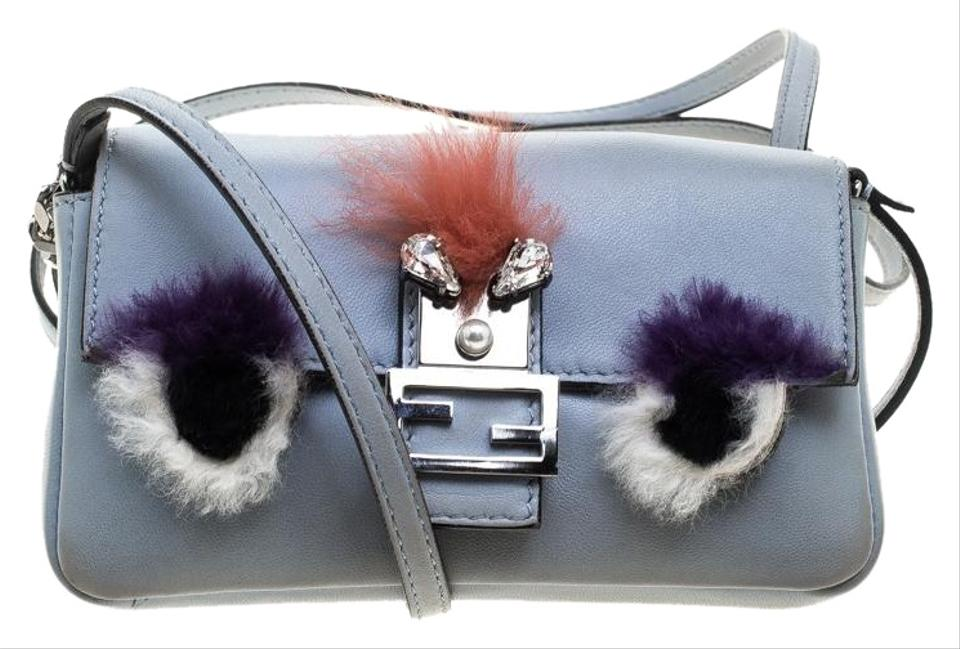 a9080c3568 Fendi Light and Fur Trim Micro Baguette Blue Leather Shoulder Bag ...