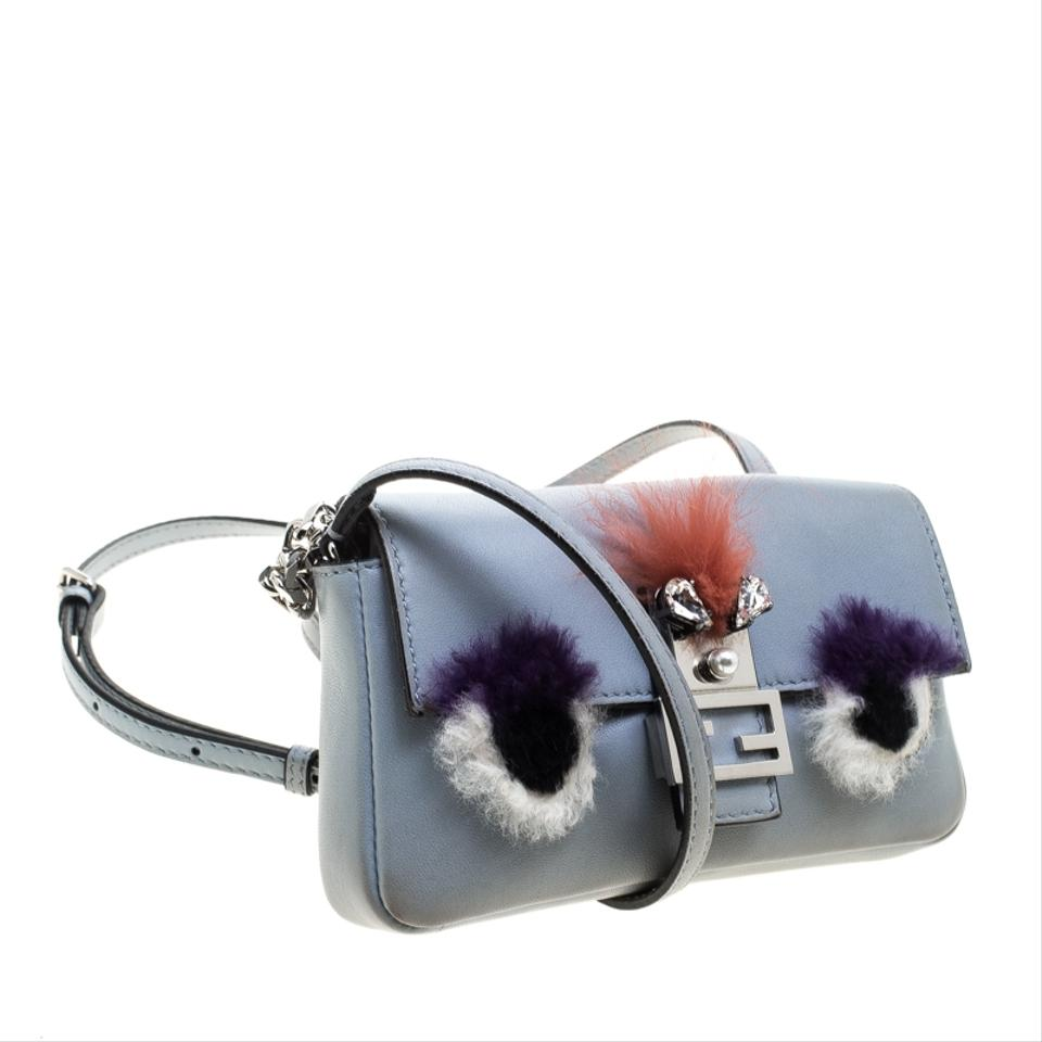 a31ca5117f Fendi Light and Fur Trim Micro Baguette Blue Leather Shoulder Bag - Tradesy