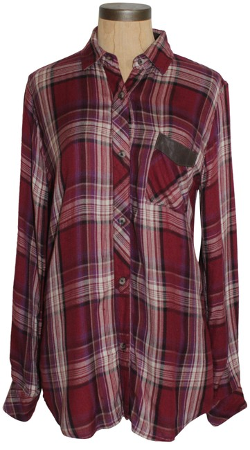 Item - Red Multi Plaid Shirt Button-down Top Size 2 (XS)