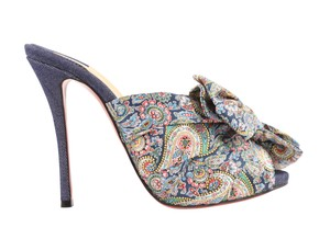 Christian Louboutin Stiletto Classic Peep Toe Platform Moniquissima Blue Mules