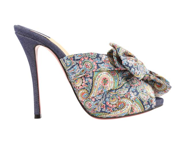 Item - Blue Moniquissima 120 Satin Paisley Denim Mules/Slides Size EU 38 (Approx. US 8) Regular (M, B)