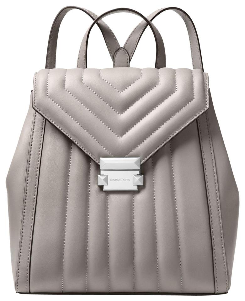 cf9669442179 Michael Kors Whitney Quilted 31f8sxib2t Pearl Grey Leather Backpack ...