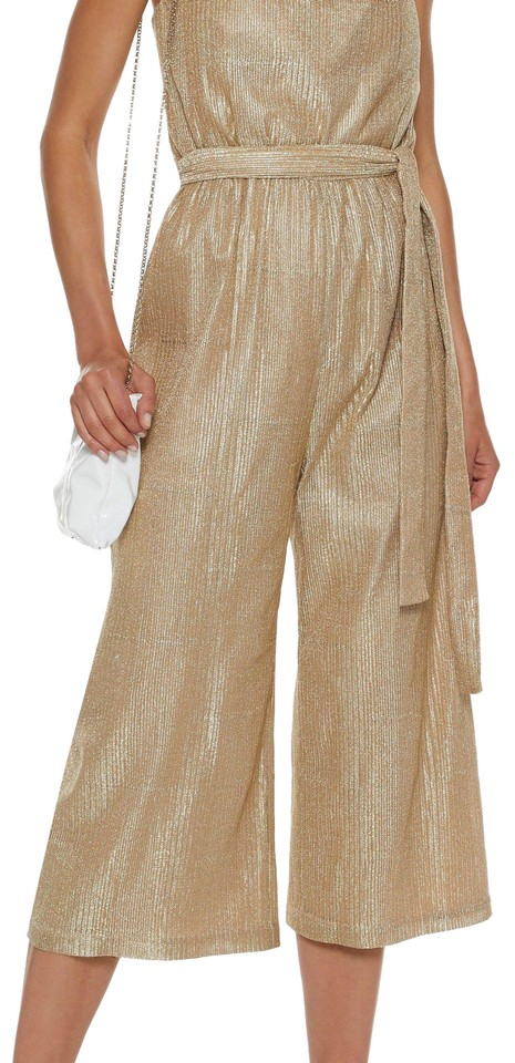 Rebecca Vallance Gold Cancun Metallic Ribbed Lamé Romper Jumpsuit ... 2976a084f