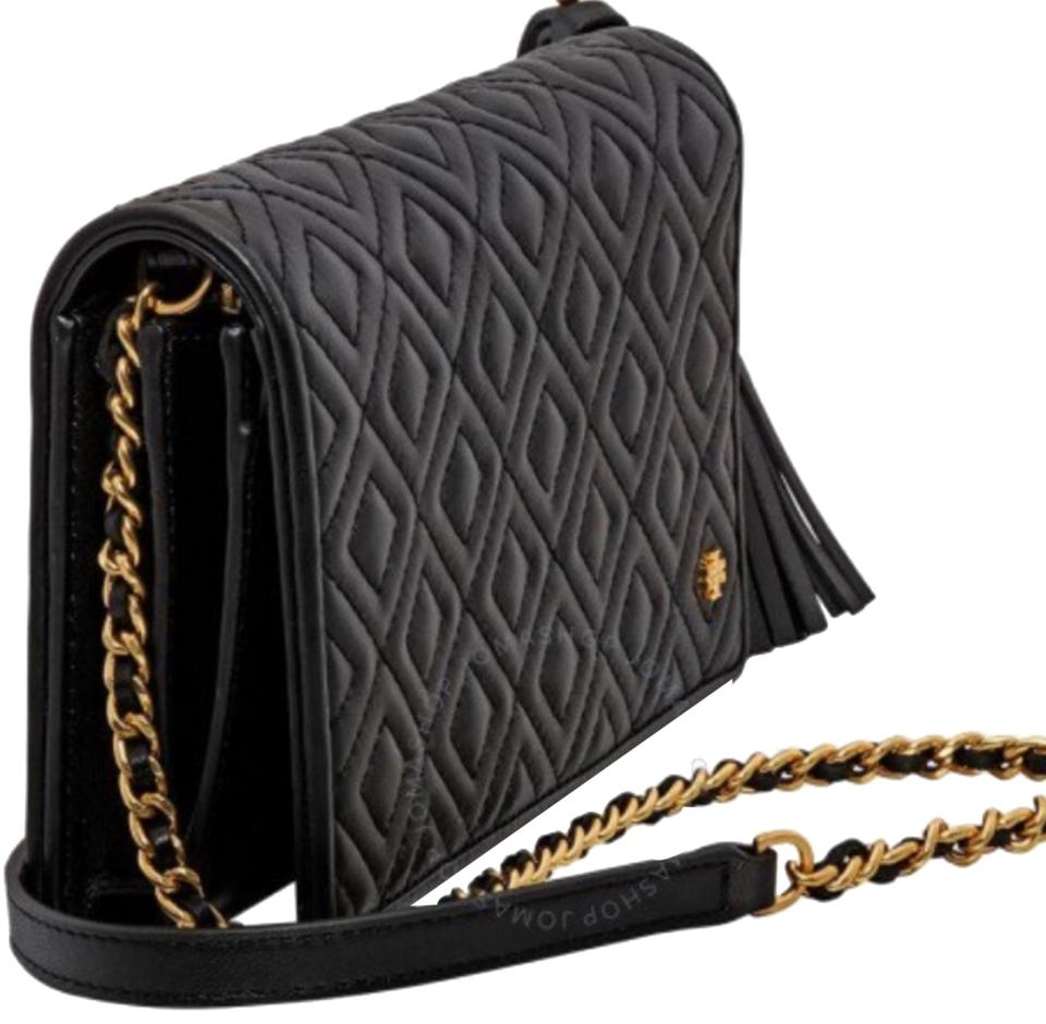 3f2b109b902 Tory Burch Fleming Convertible Crossbody Wallet Black Gold Quilted Leather  Cross Body Bag