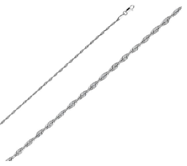 Item - White 2 Mm 14k Solid Women/ Men's Rope Light Chain 24'' Necklace