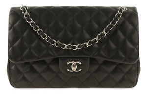 0daccf79f618 Chanel Double Flap Lambskin Jumbo Shoulder Bag. Chanel Classic Flap Jumbo  Black Lambskin Leather ...