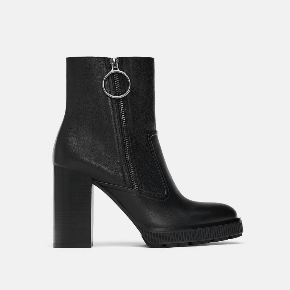 5d69c914f36 Zara Platform Leather High Heel Ankle 7.5 8 9 Boots Booties. Size  US ...