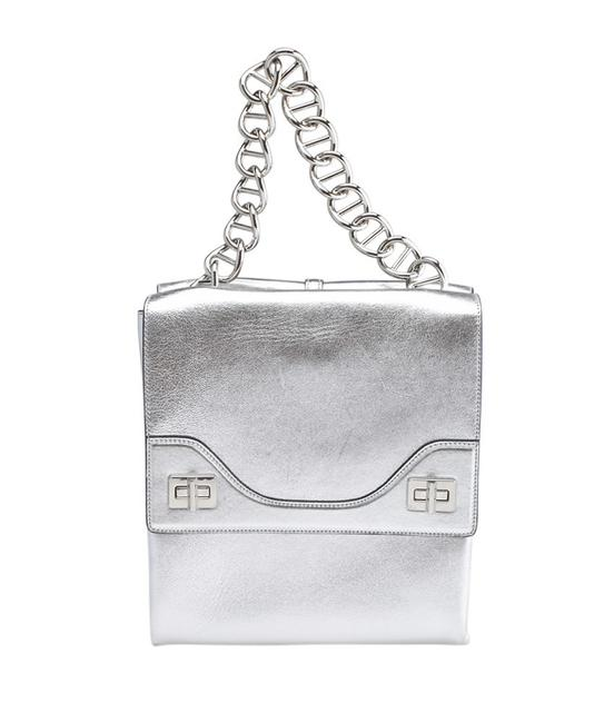 Item - B5095c Vitello Soft Chain 2-way (158189) Silver Leather Shoulder Bag