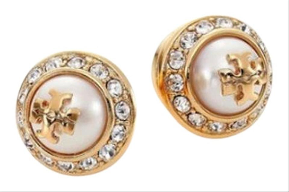 c45758139 Tory Burch Gold Stud Natalie Pearly Earrings - Tradesy