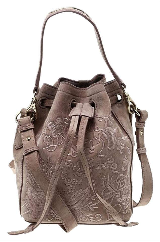 Ralph Lauren Taupe Embroidered Leather Small Drawstring Bucket Brown Suede  Shoulder Bag 99f4b403f20b2
