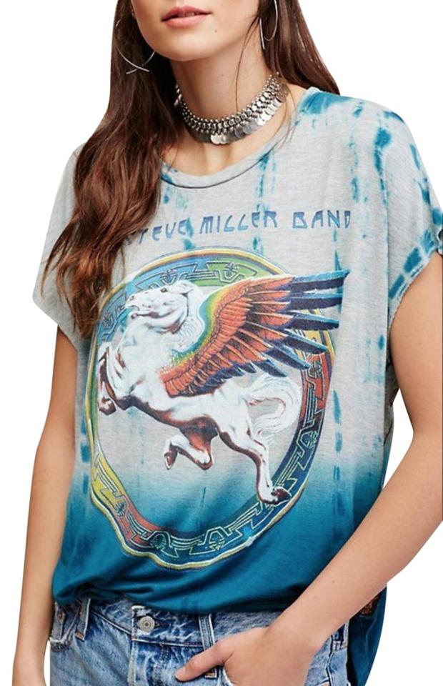 3073107aa Trunk Ltd Hippie Bandtee Freepeople T Shirt Gray and Blue Tie-Dye Image 0  ...