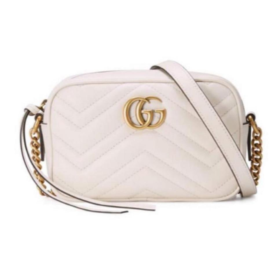 5c7c28efa5c4 Gucci Marmont Gg Matelassé Mini Camera Leather White Cross Body Bag ...