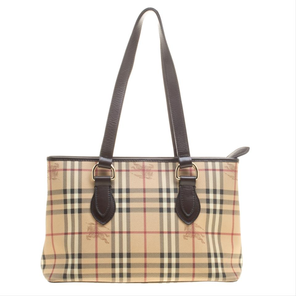 Burberry Beige  Dark Brown Haymarket Check Pvc and Regent Beige Leather Tote a5bdeab4aaf94