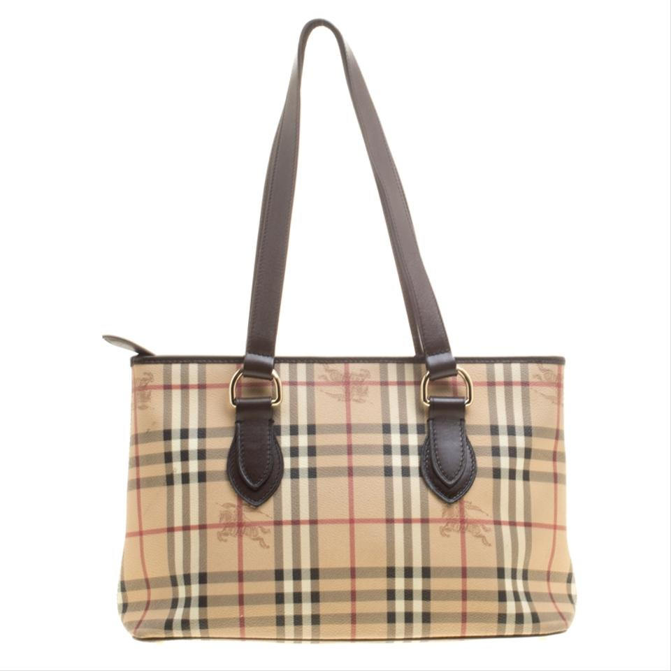 d9a6b493e36a Burberry Beige  Dark Brown Haymarket Check Pvc and Regent Beige Leather Tote  - Tradesy