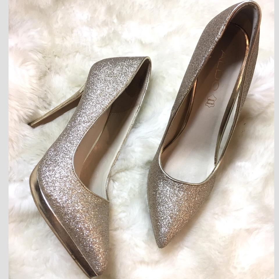 b26e4b3f980d ALDO Glitter Gold Stilettos Pumps Size US 8.5 Narrow (Aa