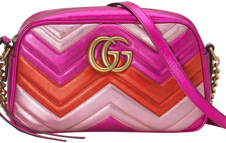 1243928f652 Gucci Marmont Gg Matelasse Camera Pink Metallic Leather Shoulder Bag ...