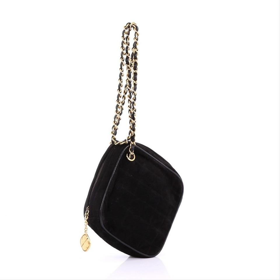 4929a2a290bc1b Chanel Vintage Diamond Tassel Quilted Mini Black Suede Cross Body ...