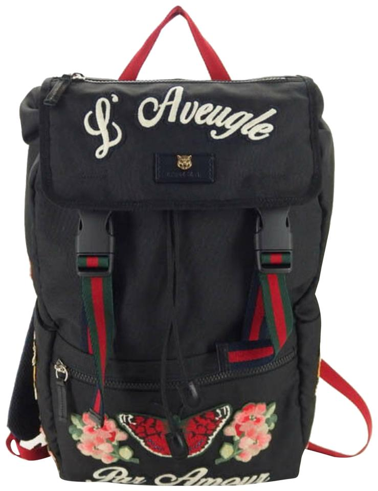 22e418414a6138 Gucci L Web L'aveugle Par Amour Tiger Embroidered Techpack 869837 Black  Leather Backpack