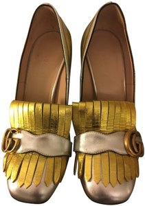 Gucci Leather Marmont Silver and Gold Pumps