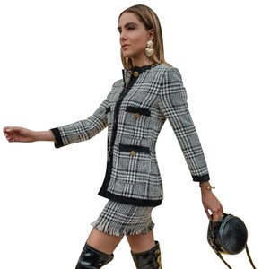 923aa22904 Zara Black and White Gold Houndstooth Tweed Set Skirt Suit Size 4 (S ...