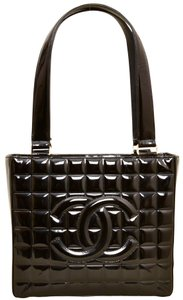 Chanel Quilted Patent Leather Tote in Black