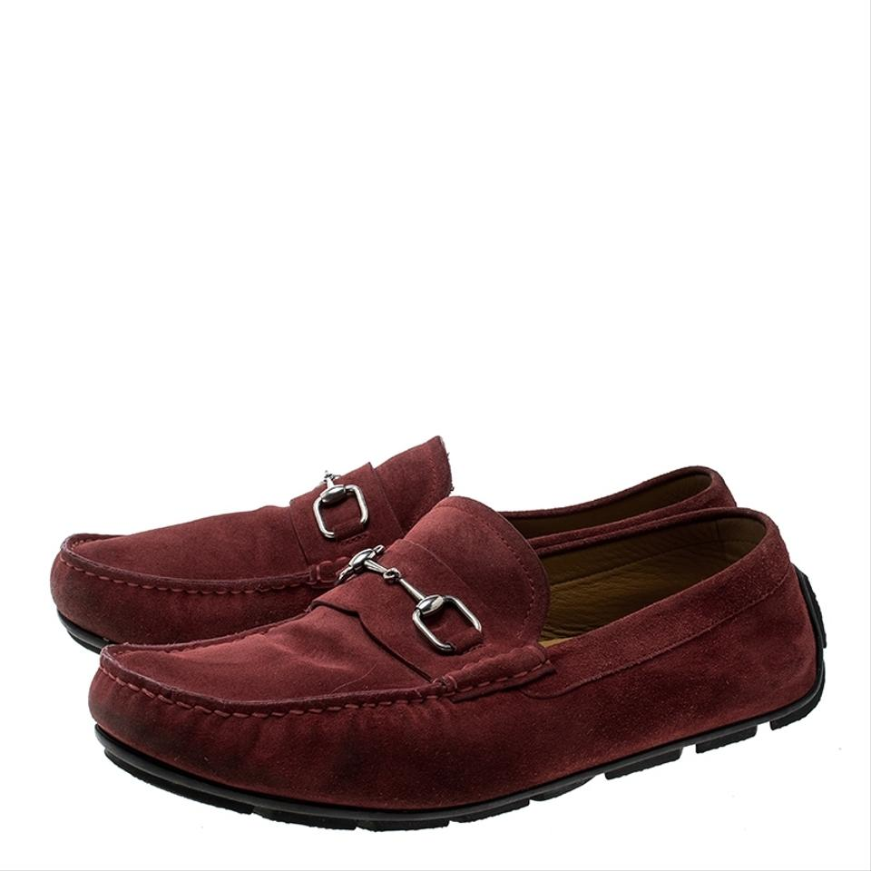 40ebfa08e7e9f7 Gucci Red Horsebit Suede Loafers Formal Shoes Size EU 44 (Approx. US ...