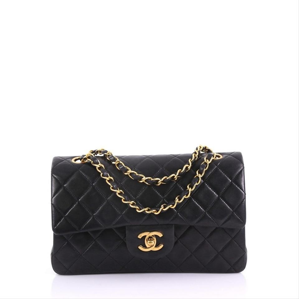 1eff1110c05e Chanel Classic Flap Vintage Classic Double Quilted Small Black Lambskin  Leather Shoulder Bag
