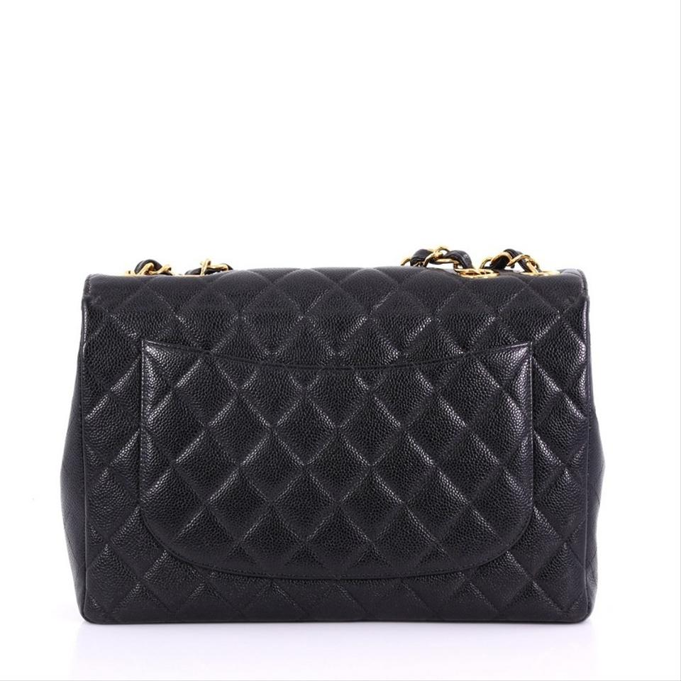 ab5ba29bc8f690 Chanel Classic Flap Vintage Square Classic Single Quilted Caviar Jumbo Black  Leather Shoulder Bag